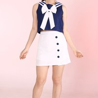Glitters For Dinner — Made To Order - Hello Sailor 2 Piece Set in Navy & White