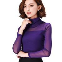 2016 New Spring Autumn Sexy Shirt Top Women Long Sleeve Turtleneck Blouses Fashion Slim Colorful Mesh Tops Plus Size Blusa A496