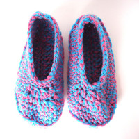 Turquoise and pink women's slippers, adult crochet booties, house shoes, house slippers, valentine's day gift, ready to ship