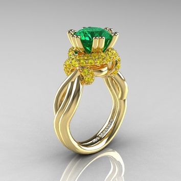 Classic 14K Yellow Gold 3.0 Ct Emerald Yellow Sapphire Knot Engagement Ring R390-14KYGYSEM
