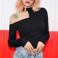 Fashion Irregular Hollow Single Shoulder Long Sleeve T-shirt Crop Tops