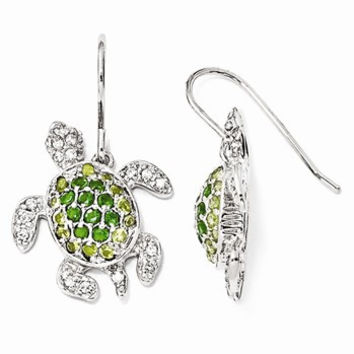 Sterling Silver Glass Sim.Peridot/Sim.Emerald/ CZ Turtle Earrings