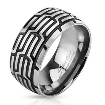 Grooved Tire Mark Band Ring Stainless Steel