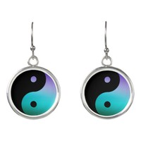 Turquoise Purple Black Yin-Yang Symbol Earrings