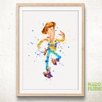 Woody, Toy Story Disney - Watercolor, Art Print, Home Wall decor, Watercolor Print, Disney Princess Poster