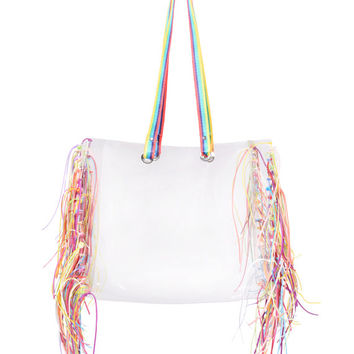 Shopper transparent bag with jutetape clear handbag shopping tote bag oversized boho fringe bag tassels tassles harajuku bag neon beach tote