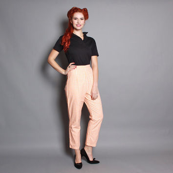 60s Creamsicle GINGHAM Pin Up PANTS / Cotton Orange Pedal Pushers, xs-s