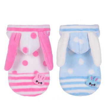 X08 Newly Winter Pet Dog Hoodie Clothes Sweety Pink Rabbit Costume for Puppy Dog Cats Warm Teddy Fleece Coat Jacket Clothing