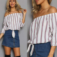 Plus Size Women Striped Blouse Shirts Off Shoulder Tops Stripe Shirts 2016 Fashion Casual Striped Bow Button Women Tops GV370