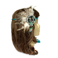 Feather Fascinator Headband, Tribal Headdress, Boho Feather Headband, Costume Headdress, Coachella, Pocahontas, Boho Hippie, Indian