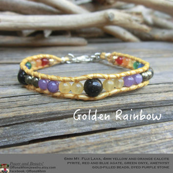 Golden Rainbow Children's Lava Stone Leather Wrap Bracelet made in Japan by Off on a Whim