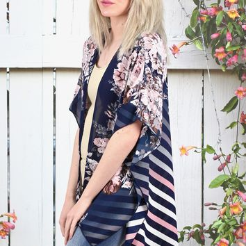 Floral Front / Striped Back Kimono {Navy}