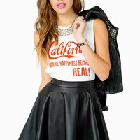 Zip Back PU Skater Skirt