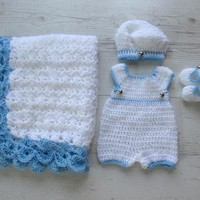 Crochet baby boy pants, matching hat, shoes and blanket in white blue colors