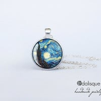 Handmade Starry Night by Vincent Van Gogh Silver Pendant gift present jewelry birthday for her round circle necklace