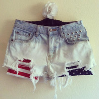 High Waisted Bleached American Flag Shorts