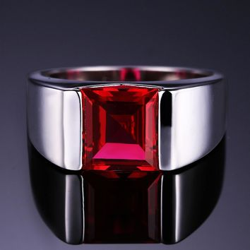 Men's Square 3.40 ct Ruby Ring
