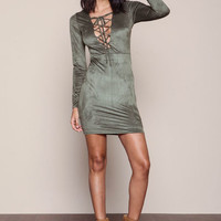 OLIVE LACE UP SUEDE BODYCON DRESS
