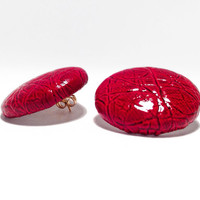 Alligator Button Earrings - Ruby