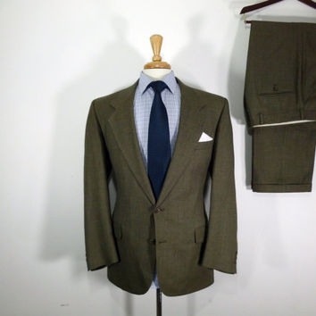 Vintage Mens suit, vintage clothing 80's by Fairfax Two Piece Two Button Classic Mid Brown Birdseye  42