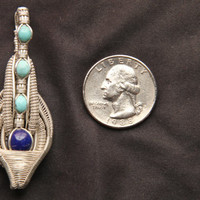Turquoise lapis luzuli and silver wire wrapped pendant double bail