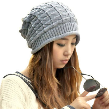 LOCOMO Women Girl Triangle Pattern Slouchy Knit Beret Beanie Crochet Rib Hat Cap Warm FAF028GRY Gray