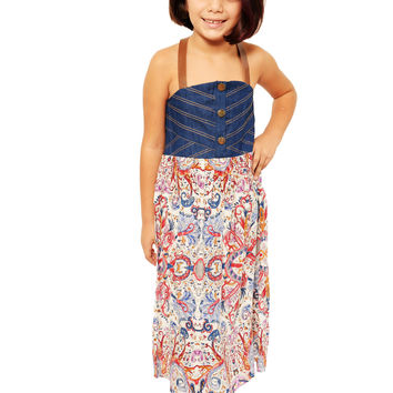 Mini Voiz Girl's Strap  Denim Top and Floral Bottom Dress