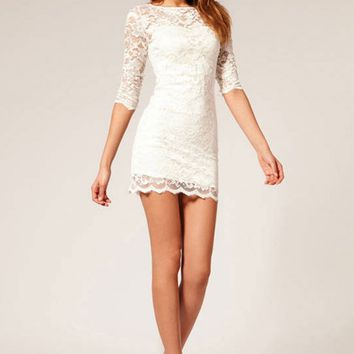 B| Chicloth Solid 3/4 Sleeve Round Neck Lace Bodycon Dress