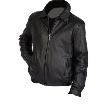 Bomber leather jacket with spread collars