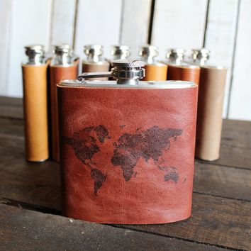 *Customizable* Solid World Map Leather Hip Flask