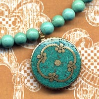 Nepal Necklace  Turquoise inlay Mandala Nepal Jewelry by Annaart72