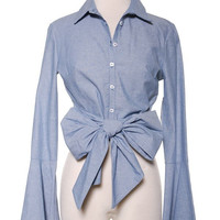 Bow Front Chambray Blouse