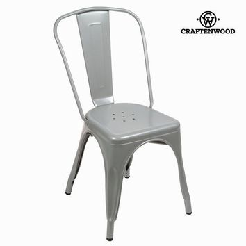 Silver metal vintage chair by Craften Wood