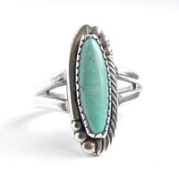 Vintage Sterling Silver Turquoise Ring - Size 6 Signed Native American Jewelry / Seafoam Green