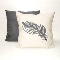 Feather pillow covers (2), linen,  appliquéd feathers in white, dark grey and grey