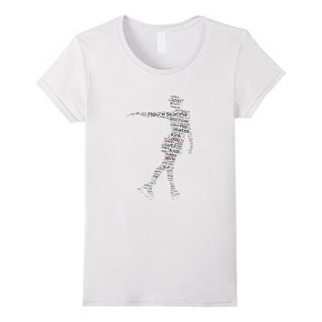 Figure Skating Word Cloud Art T Shirt for Ice Skaters