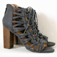 Jacey Navy Lace-Up Heels