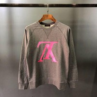 HCXX Louis Vuitton Logo Embroidery Sweater Grey Pink