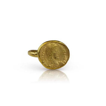 Ancient 22k Roman Coin Replica Ring