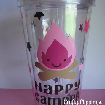 Camping party. Tumbler, Campfire, Happy Camper, Camping Decor, Camping Cup, Party Favor, Camping Birthday gift, pink camping, glamping