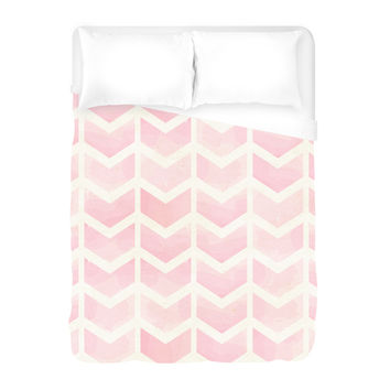 Rose Chevron Duvet Cover