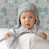 Long Earflap Crochet Baby Hat Perfect for newborn photo prop or winter hat 0-3 Month size or 3-6 Month Size Pick Your Color