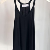 Basic Ribbed V-neck Tank- Black