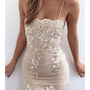 Apricot Patchwork Lace Embroidery Condole Belt Backless Fashion Bodycon Mini Dress