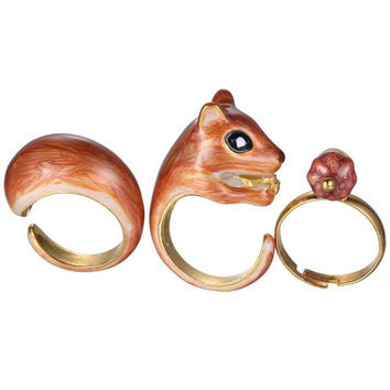 Alloy Squirrel Jewelry Rings Set