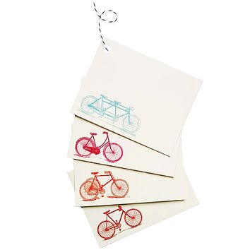 Colorful Bicycle Tags / Pink, Orange, Red, Turquoise - Set of 4