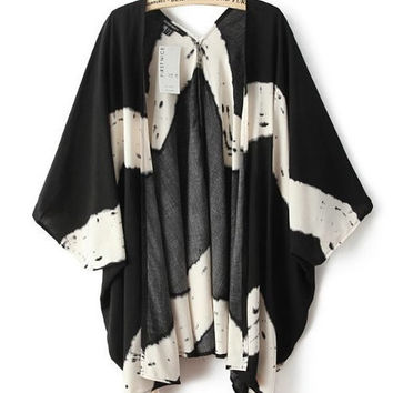 Tie Dye Black and White Kimono Cardigan