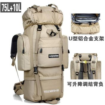"""80L  Large Capacity Outdoor Mountaineering Bag """"U"""" shaped metal support Hiking Bag  Sports Backpack Camping Tents Bag A5113"""