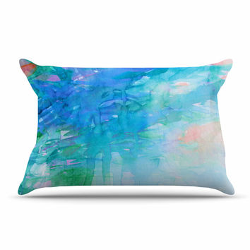 "Ebi Emporium ""Childlike Wonder"" Blue Pastel Pillow Case"