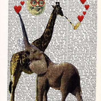 Elephant Love Print-Giraffe Art-Hearts- Giraffe Poster-Dictionary Print Funny Poster-Giraffe Cute Gift Poster-Home College Dorm Wall Decor
